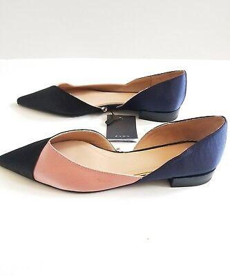 Zara Women size 6 Three Tone Flats Shoes Pink Blue NWT Colorblock