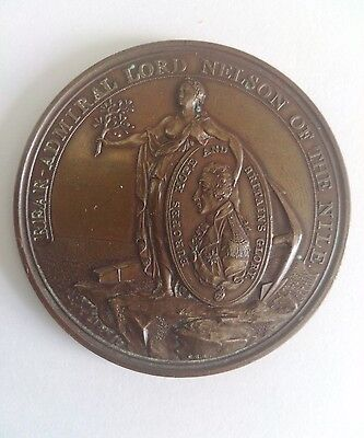 ALEXANDER DAVIDSON'S MEDAL FOR THE BATTLE OF THE NILE 1798 IN BRONZE E FINE.! EX