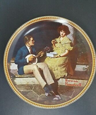 """NORMAN ROCKWELL PLATE """"PONDERING ON THE PORCH"""" EDWIN M KNOWLES - With Box & COA"""