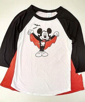 Womens Juniors Halloween Dracula Mickey Mouse Shirt Cape Vampire Bat XS S M - Mickey Mouse Halloween Shirt
