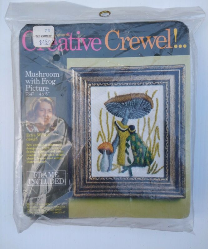 Vintage Creative Crewel Embroidery Kit Mushroom with Frog Picture Erica Wilson