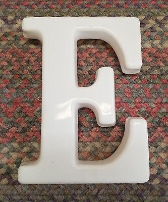 White Plastic 12  Hanging Letter E Store Sign Spell Out Alphabet Capital Vintage