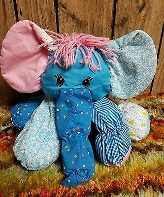 """Vintage 80s AmToy Floppalots Plush Blue Elephant Stuffed Animal Toy 11"""" 1987"""