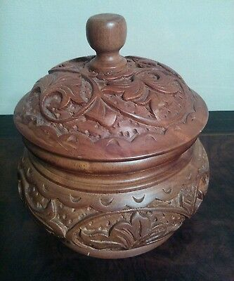 Carved Antique Wooden Pot with Lid