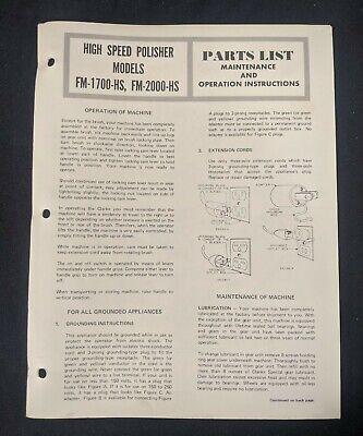 Vtg Clarke Model Fm-1700-hs Fm-2000-hs Polisher Floor Cleaner Part List Manual
