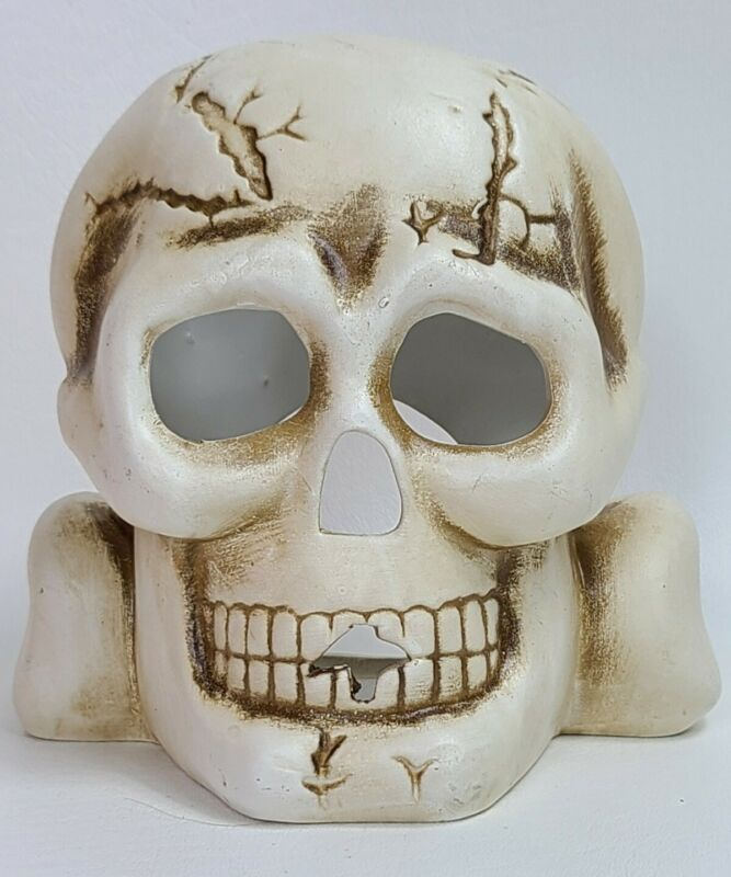 Spooky Hollow Skull and Crossbones Candle Holder Vintage Halloween Decor Pirates