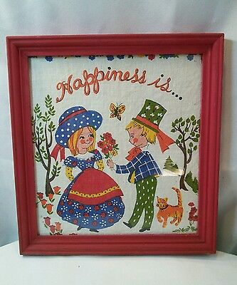 Vtg Framed 70's retro Cloth Calendar HAPPINESS IS..Boy Give flowers Girl Cat - Boys 70s Clothes