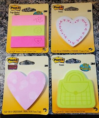 Post-it Sticky Notes Trendy Love Noteletter Hearts Purse Lot Of Four 4