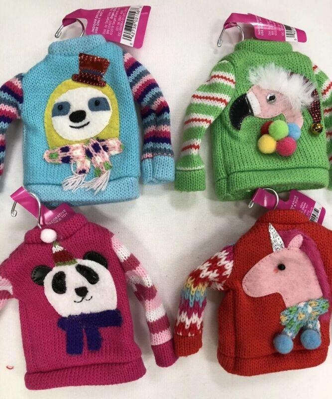 2019 Target Wondershop Set of 4 Ugly Christmas Sweater Ornaments Sloth Flamingo
