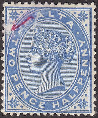Malta 1885 QV 2½d Ultramarine? with Postmaster Red Tick Mint SG26 cat £50 faulty