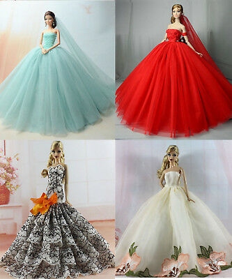 4 x Fashion Princess Dress/Wedding Clothes/Gown For Barbie Doll
