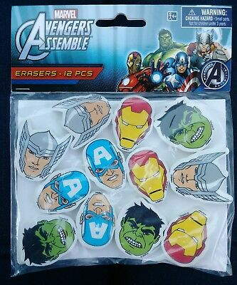 Avengers Assemble Marvel Heroes Eraser Birthday Party Favors Teachers Supply ~12