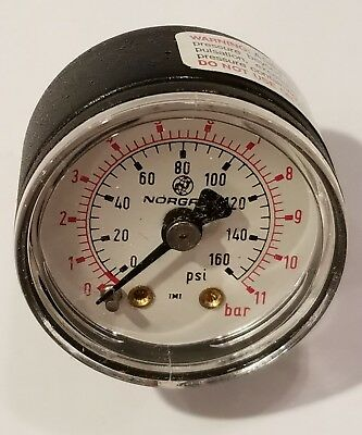 Norgren 160 Psi Pressure Gauge 18-013-212 New Old Stock 1.5 11 Bar Nib