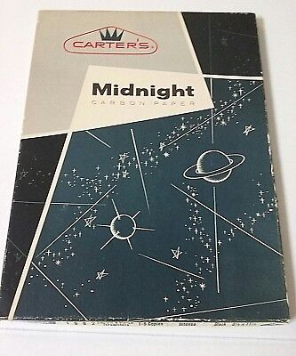 Vtg CARTER'S MIDNIGHT CARBON PAPER Intense Black 30+ pgs UNUSED Atomic Space Age