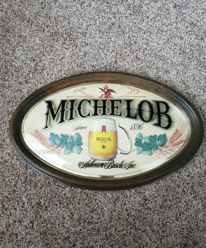 Vintage MICHELOB Anheuser Busch Beer Large Oval Framed Sign