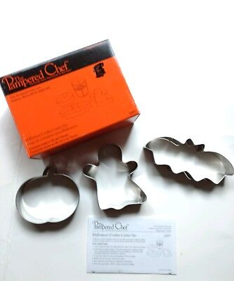 Pampered Chef Cookie Cutter Set 3 Piece Halloween With Recipes In Box #1097 NEW - Halloween Biscuit Recipe