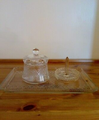 Vintage cut glass dressing table tray set