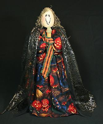 Hand-crafted Folk-Art Spooky Halloween Lady Figure With Lighted - Folk Art Halloween Figures
