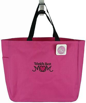 World's Best Mom Monogram Bright Pink Tote Bag Mommy Mother's Baby Shower
