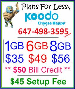 Koodo 1gb 6gb 8gb LTE data plan unlimited talk/text + $50 bonus