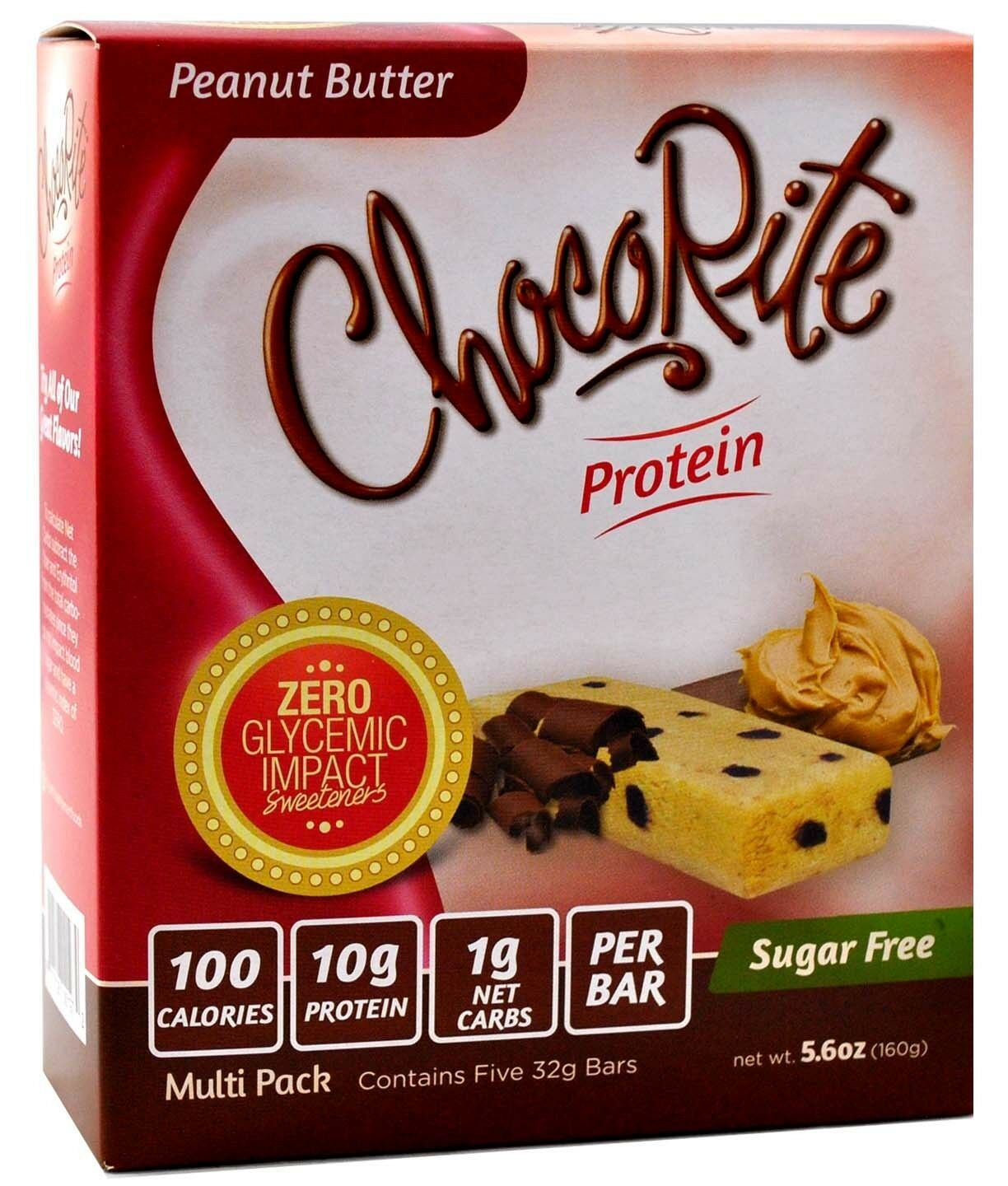 ChocoRite – Peanut Butter High Protein Bars Low Calorie, 5ct