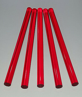 "1 PC 3/4"" DIAMETER 12"" INCH LONG CLEAR RED ACRYLIC PLEXIGLASS LUCITE COLORED ROD"