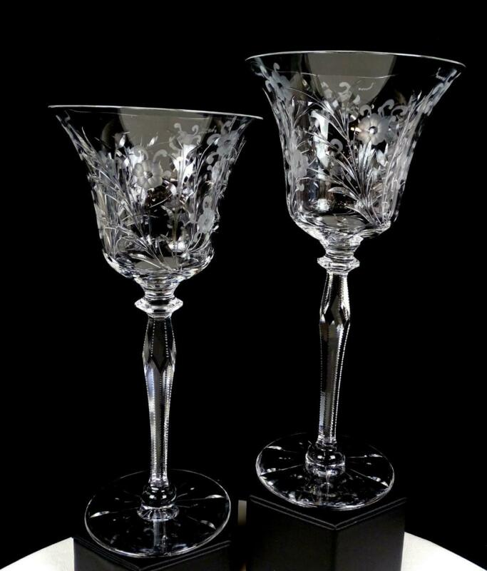 """PAIRPOINT CRYSTAL INTAGLIO FLORAL NOTCHED FACETED STEM 2 PIECE 8 7/8"""" GOBLETS"""