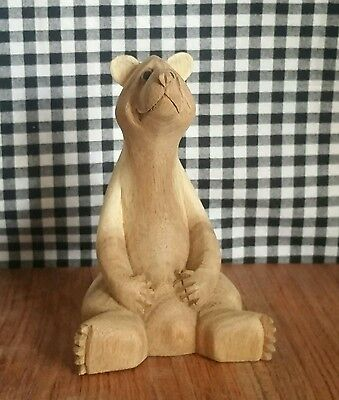 Cute Carved Wood Brown Bear Figurine, Cabin Lodge Hunting Decor, Fat Big Belly