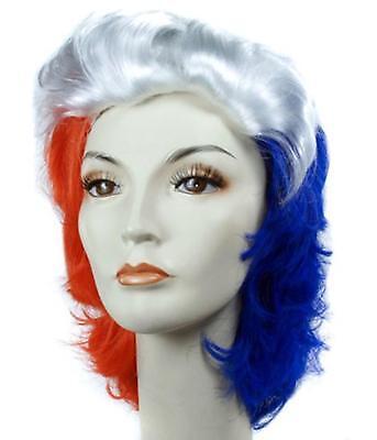 Erwachsene Rot Weiß & Blau Perücke Patriotisch Juli 4 Parade Kostüm Zubehör