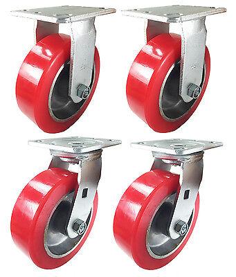 6 X 2 Aluminum Wheel Casters - 2 Rigids 2 Swivels