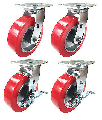 6 X 2 Aluminum Wheel Casters - 2 Swivels And 2 Swivels With Brake