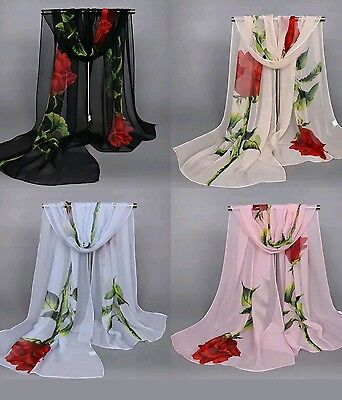 New Women's Long Soft Wrap Lady  Rose Flower Print Chiffon Scarf