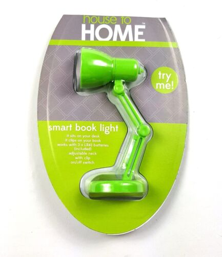Smart Book Light Retro Lamp Reading Bookworm Clips to Book / Sits on Desk Green
