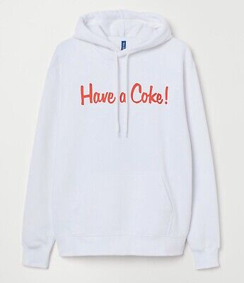 H&M Divided Authentic Coca-Cola Coke Pull Over Pockets Hoodie White Size Large