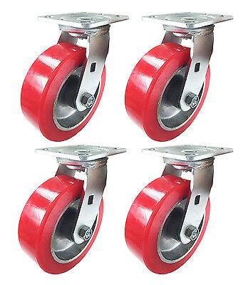 6 X 2 Aluminum Wheel Casters - 4 Swivels