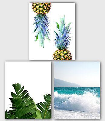 Set Of Three Pineapple, Banana Leaf, Sea Surf Prints, Nature Art, Unframed Natural Pineapple Banana