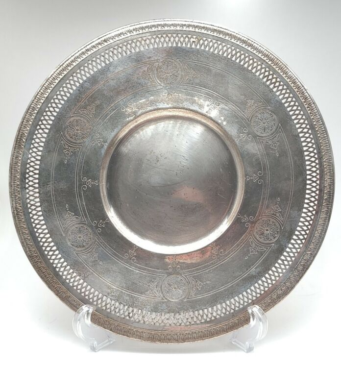 Vintage W.M. Rogers Silver Plate Ornate Floral Round  Serving Plate