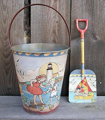 Rustic Vtg Look Tin Beach Sand Toy Pail/Bucket & Shovel-Nautical Home Decor-New