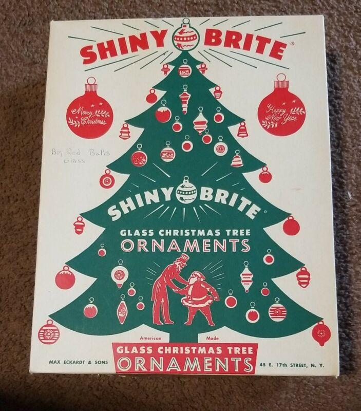 Vintage Shiny Brite Box 12 Red Mercury Glass Holiday Christmas Ornaments Fab Box
