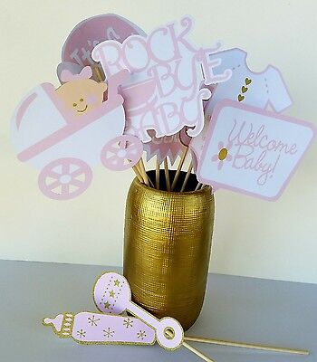 Baby Girl Baby Shower Ideas (Pink and Gold  Baby Girl Shower Photo Booth Props- 12 Piece -Great Party)