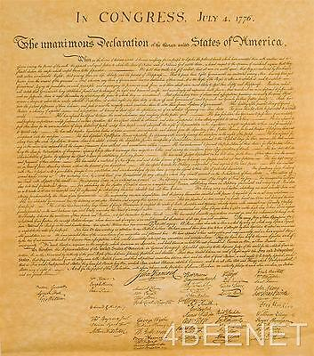 DECLARATION OF INDEPENDENCE quality replica document ABOUT ORIGINAL SIZE
