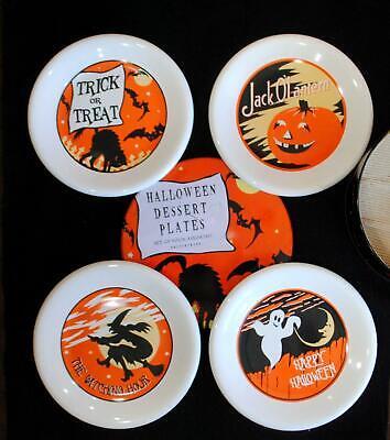 SET 4 Pottery Barn Halloween Salad Dessert Luncheon Plates Tin Witch Pumpkin Cat
