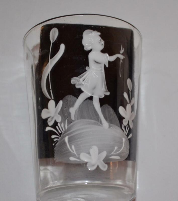 Vintage MARY GREGORY Hand Paint juice GLASS TUMBLER