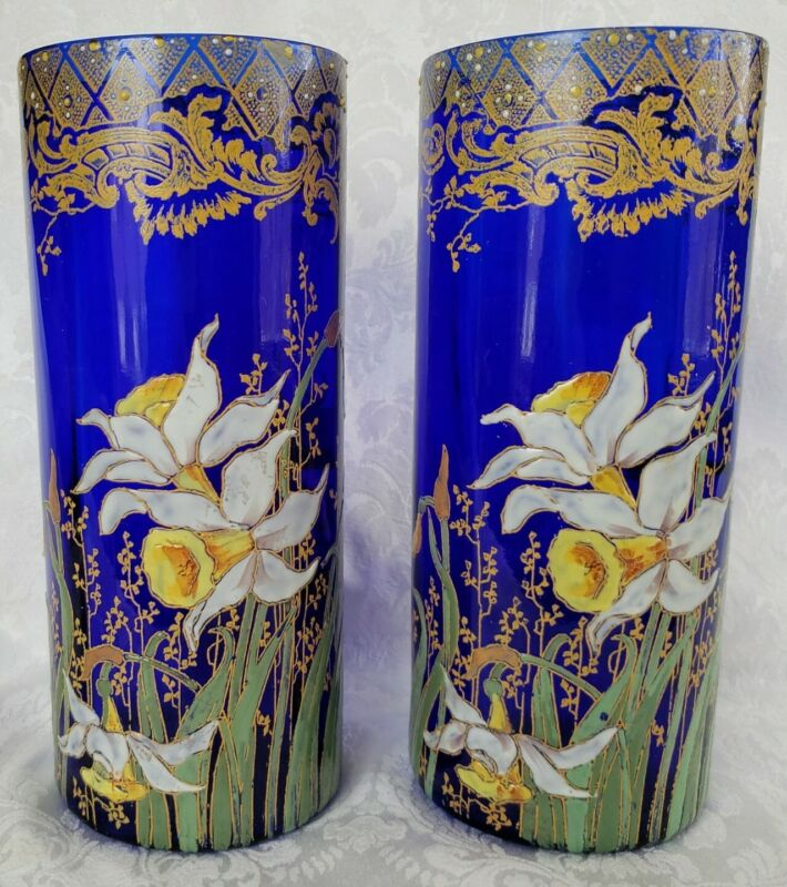 ANTIQUE  MOSER COBALT BLUE CYLINDER VASES ENAMELED DAFODDILLS FLOWERS EARLY...