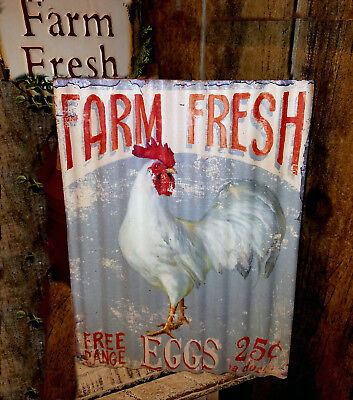 "Rustic Tin Chicken Sign ""Farm Fresh Eggs Vintage Farmhouse Decor~Country Kitchen"