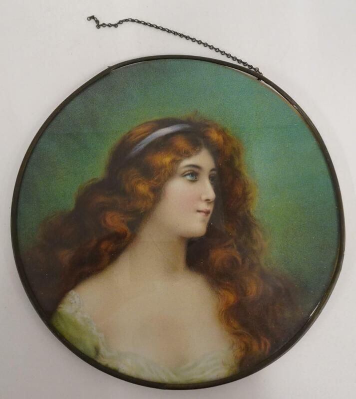 """Antique 9.5"""" Lithograph Chimney Flue Cover Young Woman Long Red Hair Blue Eyes"""