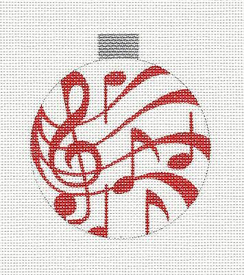 - SP.ORDER ~ Red Musical Notes Ornament RD. Needlepoint Canvas HP by R.Crawford