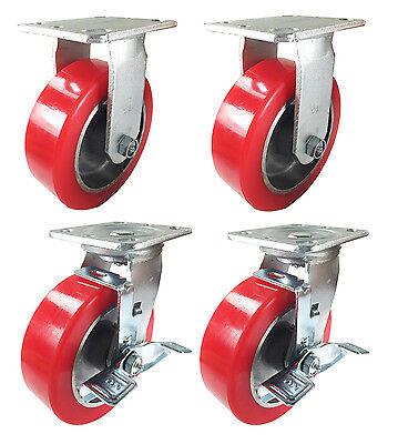 6 X 2 Aluminum Wheel Casters - 2 Rigids  2 Swivels With Brake