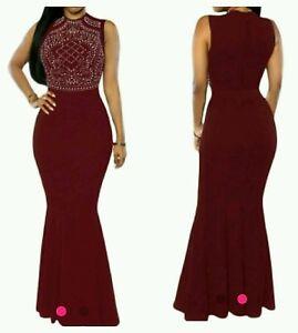 Burgundy Red Rhinestone Mermaid cocktail/prom  Maxi Dress Gown  Size 8-10-12-14
