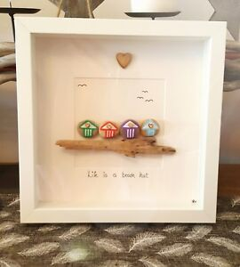 Life is a beach hut.. hand crafted pebble art  driftwood picture. 3D box frame.